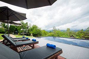 poolside setting with views